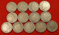 1900-1912 LIBERTY V NICKEL G FULL RIMS COLLECTOR 13 COINS  QUALITY LN558