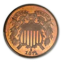 1871 2C TWO CENT PIECE PCGS PR66RD CAC