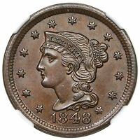 1848 BRAIDED HAIR LARGE CENT N 17 NGC MS64BN CAC