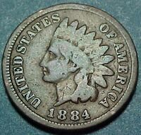 INDIAN HEAD CENT   1884   FULL DATE   CIRCULATED  A