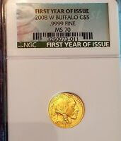 2008W $5.00 GOLD BUFFALO 1/10 OZ MS70 FY NGC MS70