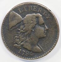 1794 S 51 ANACS VF 20 DEATILS LIBERTY CAP LARGE CENT COIN 1C