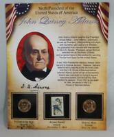 2008 P & D BU JOHN QUINCY ADAMS PRESIDENTIAL DOLLAR $1 SET 2 COINS W STAMP CB228