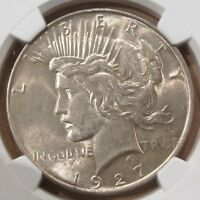 1927-D PEACE DOLLAR $1 AU55 NGC CERTIFIED