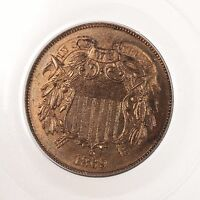 1869 TWO CENT 2C PCGS CAC CERTIFIED PR65RB RED BROWN PROOF STRUCK 2 CENT COIN