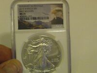 2015 W BURNISHED 1 OZ. SILVER EAGLE FIRST RELEASES NGC 4262341 063 GRADED MS 70
