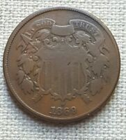 1869 TWO-CENT PIECE - U.S COIN - VG