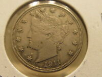 SHARP AU 1911 LIBERTY NICKEL  WITH LIGHT RESIDUAL MINT LUSTER  FAE