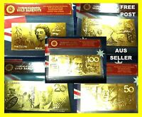 AUSTRALIA 5 GOLD  BANK  NOTES  GOLD 24KT 3D   BANKNOTES UNC   COA COLLECTABLE