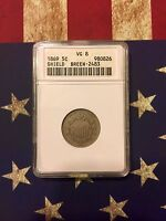 1869 5C SHIELD NICKEL. BREEN 2483. ANACS VG8. WIDE NUMERALS AND 1870 REVERSE