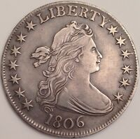 1806 DRAPED BUST SILVER HALF DOLLAR  POINTED 6, STEM NOT THROUGH CLAW