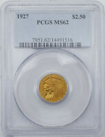 1927 $2.5 INDIAN HEAD QUARTER EAGLE GOLD COIN PCGS MS62