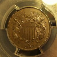 1869  PCGS  GENUINE  AU DETAILS  TWO CENT PIECE   CLEANED   NICE PIECE.