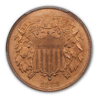 1868 2C TWO CENT PIECE PCGS MS66RD