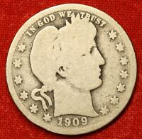 1909 P BARBER QUARTER G 90  SILVER COLLECTOR COIN GIFT BQ223