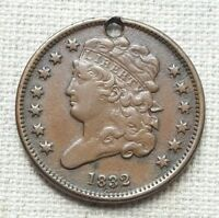 1832 CLASSIC HEAD HALF CENT - HOLED