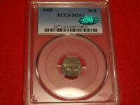 1855 3CS PCGS MINT STATE 63 CAC TOUGH DATE TYPE TWO THREE CENT SILVER