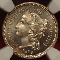 NGC MINT STATE 64 1879 THREE CENT NICKEL BETTER DATE 3CN