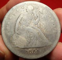 1860-O SEATED LIBERTY SILVER DOLLAR GREAT EARLY NEW ORLEANS MINT $1 TYPE COIN