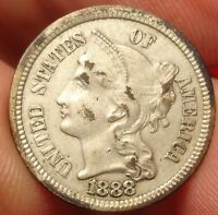 1888 THREE CENT NICKEL ALMOST UNCIRCULATED OBVERSE CUD BETTER DATE 3CN