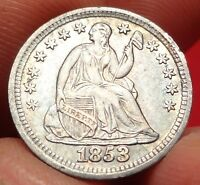 1853 NO ARROWS SEATED LIBERTY HALF DIME CHOICE ALMOST UNCIRCULATED AU H10C