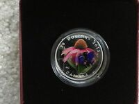 2013 CANADA VENETIAN GLASS PURPLE CONEFLOWER EASTERN TAILED BLUE 1OZ SILVER COIN
