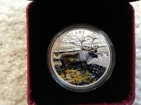 2014 CANADA   THE CARIBOU 1OZ COLORIZED SILVER PROOF COIN