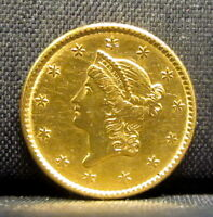 1852 P $1 GOLD PIECE  XF EXTRA FINE DETAILS  TYPE 1 T1 CLEANED  TRUSTED