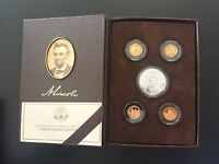 2009 ABE LINCOLN COIN & CHRONICLES SILVER & BRONZE 5 COIN PROOF SET BRUISED BOX