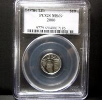 2000 $10 PLATINUM AMERICAN EAGLE  PCGS MS 69  1/10 OZ STATUE LIBERTY TRUSTED