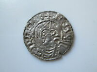 ENGLAND ANGLO SAXON SILVER PENNY CNUT POINTED HELMET TYPE LEOFPOL.D LONDON