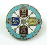 ANTIQUE ENAMELED 1889 BRITISH SILVER FLORIN COIN BROOCH OR PIN