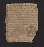 3 PENCE BETTERING HOUSE MONEY MARCH 10 1769 SIGNED BY JACOB LEWIS