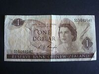 NEW ZEALAND   1970S $1 PAPER BANK NOTE   R L KNIGHT