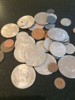 JOB LOT OF OLD COINS INCL. 11 DOLLARS