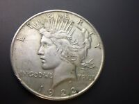 1922 P  PEACE DOLLAR   AU UNC   UNCLEANED       90  SILVER   FAST SHIP   LOT 247
