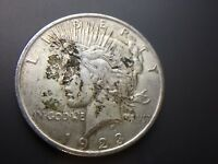 1923 P  PEACE DOLLAR   STRONG AU    UNCLEANED   90  SILVER   FAST SHIP   LOT 149