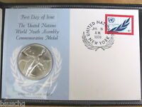 1970 UNITED NATIONS STERLING SILVER PROOF WORLD YOUTH COMMEMORATIVE  COIN