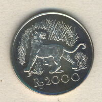 INDONESIA SILVER 2000 RUPIAH 1974 WILD WORLD PROTECTION  JAV