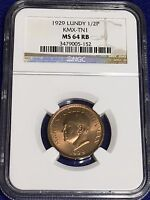 1929 LUNDY HALF PUFFIN   NGC MS 64 RB  KMX TN1     ONE YEAR TYPE COIN