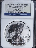 5 PIECE 2011 SILVER EAGLE 25TH ANNIVERSAY SET ALL COINS NGC GRADED 70
