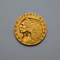 KEY DATE 1912 S $5 AU   INDIAN HEAD HALF EAGLE US GOLD OLD COIN