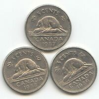 CANADA 1987 1988 1989 CANADIAN NICKELS BEAVER NICKEL   EXACT 3 COIN SET