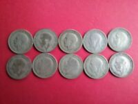GREAT BRITAIN  UK    LOT OF 10   ONE SHILLING   50  SILVER C