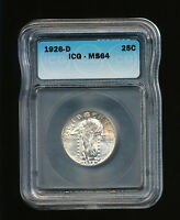 1926-D STANDING LIBERTY SILVER QUARTER 25C ICG MINT STATE 64 TYPE 2B, STARS BELOW EAGLE