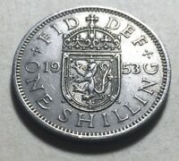 GREAT BRITAIN  UK  1953 ONE SHILLING COIN   QUEEN ELIZABETH