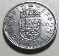 GREAT BRITAIN  UK  1957 ONE SHILLING COIN   QUEEN ELIZABETH