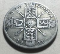 GREAT BRITAIN  UK  1921 ONE FLORIN  TWO SHILLINGS  SILVER CO