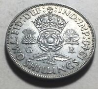 GREAT BRITAIN  UK  1940 ONE FLORIN  TWO SHILLINGS  SILVER CO