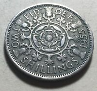 GREAT BRITAIN  UK  1955 ONE FLORIN  TWO SHILLINGS  COIN   QU